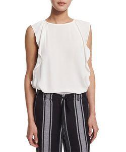 Joie   Hiatte Ruffled-Side Silk Top