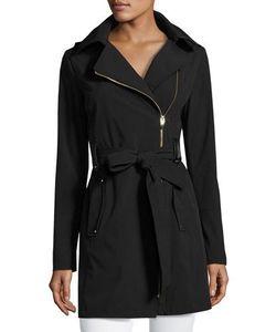 Via Spiga | Belted Asymmetrical Soft-Shell Trench Coat