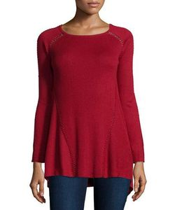 Tess Giberson for Neiman Marcus Cashmere Collection | Long-Sleeve Whipstitch Sweater