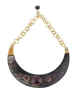 Ashley Pittman | Ruby-Station Collar Necklace Dark Horn Womens Gold