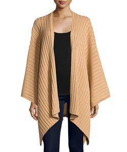 Neiman Marcus | Rib-Knit Cotton Blanket Wrap Malbec
