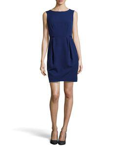 Halston | Front-Pleat Sleeveless Dress
