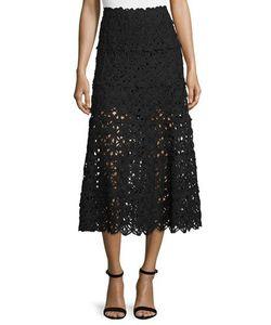 Donna Karan | Ribbon Lace Midi Skirt