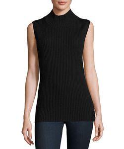 Sweet Romeo   Sleeveless Mock-Neck Ribbed Sweater Heather