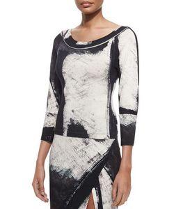 Donna Karan | Printed 3/4-Sleeve Top