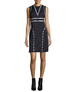 Edun | Square Pinstripe Button-Trimmed Sheath Dress
