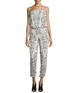 Haute Hippie | Strapless Zebra-Print Jumpsuit