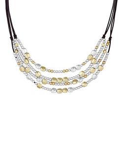 Lucky Brand | Key Item Semi-Precious Rock Crystal Dual-Tone Beaded Collar Necklace