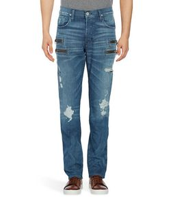 Hudson Jeans | Distressed Zip-Accented Jeans