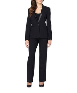 Tahari Arthur S. Levine | Starneck Faux Leather Collar Jacket And Pants Suit