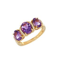 Lord & Taylor | Andin Amethyst And 0.053 Tcw Diamond 14k Oval Ring