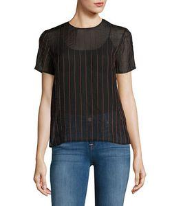 DKNY | Sheer Pinstriped Short-Sleeve Top