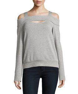 Bailey 44   Heathe Cold-Shoulder Sweatshirt
