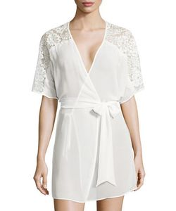 Flora By Flora Nikrooz | Ivy Lace-Trimmed Chiffon Short Robe