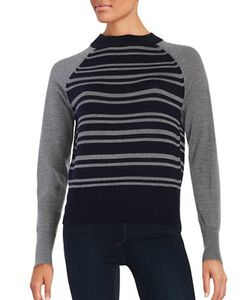 Dkny Pure | Long Sleeved Striped Pullover Merino Wool Sweater