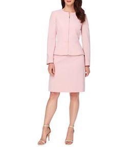 Tahari Arthur S. Levine | Two-Piece Jewel Neck Peplum Jacket And Skirt Suit