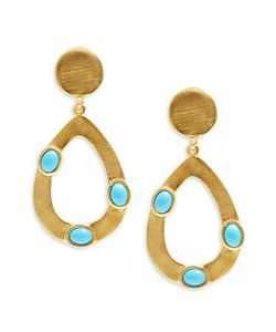 Kenneth Jay Lane | Couture Open Teardrop Turquoise Clip-On Earrings
