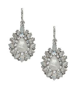Marchesa | Rhodium Opalplated Cluster Drop Earrings