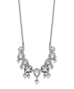 Marchesa | Rhodium Opal And 6mm-8mm Simulated Faux Pearlplated Corded Frontal Necklace