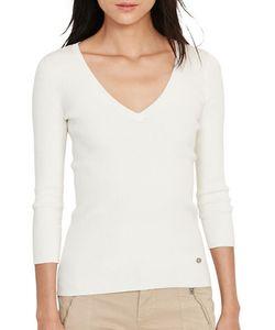 Lauren Ralph Lauren | Farara Rib-Knit V-Neck Cotton-Blend Sweater