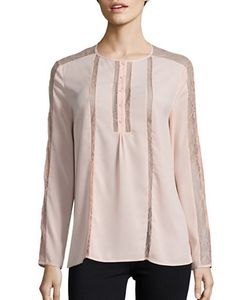 French Connection | Lace-Trimmed Crepe Blouse