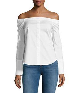 Highline Collective | Solid Cotton-Blend Off-The-Shoulder Top