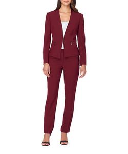 Tahari Arthur S. Levine | Solid Open-Front Jacket And Pants Suit