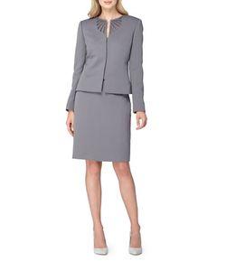 Tahari Arthur S. Levine | Embroide Jewel Neck Kissing Jacket Skirt Suit