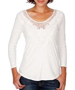 Lucky Brand | Lace Neck Cotton Top