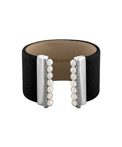Majorica | New Isla 6 Mm Pearls Cubic Zirconia And Leather Bracelet