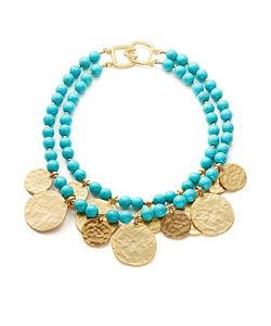 Kenneth Jay Lane | Two-Row Turquoise And Disc Necklace