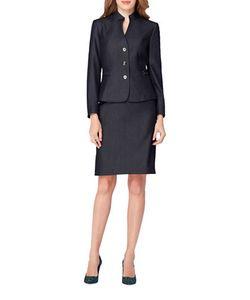 Tahari Arthur S. Levine | Stand Collar Three Button Jacket And Skirt Suit