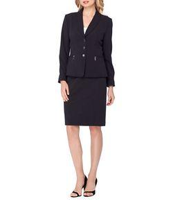 Tahari Arthur S. Levine | Pinstriped Shawl-Collar Skirt Suit