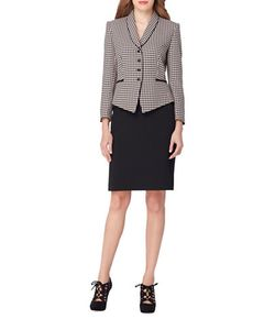 Tahari Arthur S. Levine | Houndstooth Jacket And Skirt Suit