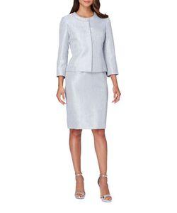 Tahari Arthur S. Levine | Pearl Jewelneck Snap Jacket And Skirt Suit