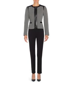 Tahari Arthur S. Levine | Faux Leather-Trimmed Pants Suit Set