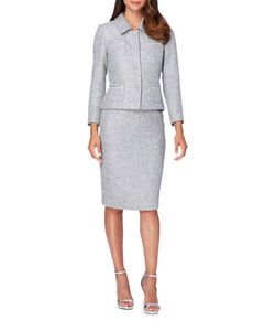 Tahari Arthur S. Levine | Four-Button Novelty Skirt Suit