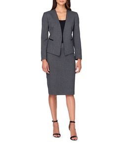 Tahari Arthur S. Levine | Houndstooth Open-Front Jacket And Skirt Suit