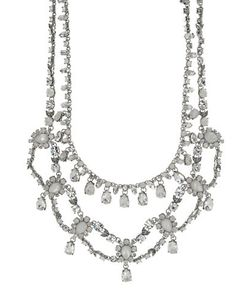 Marchesa | Rhodium And Opal Multi-Rowplated Collar Necklace