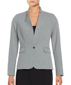 Calvin Klein | Petite One Button Striped Jacket