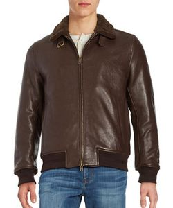 Vince Camuto | Shearling-Trimmed Leather Long Sleeve Jacket