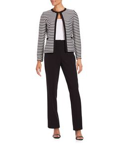 Tahari Arthur S. Levine | Striped Pants Suit Set