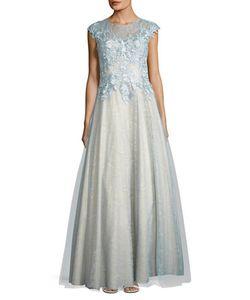 BASIX | Cap Sleeved Embellished Bodice Gown