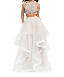 Glamour By Terani Couture | Beaded Crop Top 2-Piece Ballgown