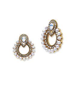 Jenny Packham | Pierced Tone Hoop Drop Earrings
