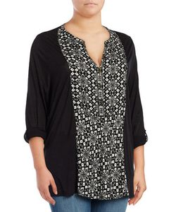 Lucky Brand Plus | Plus Colorblocked Roll Tab Top