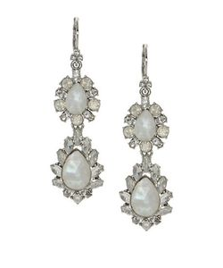 Marchesa | Rhodium Opalplated Double Drop Earrings