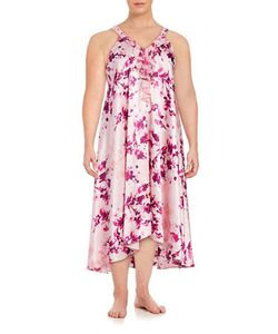 Oscar de la Renta   Plus Ruffled Satin Nightgown