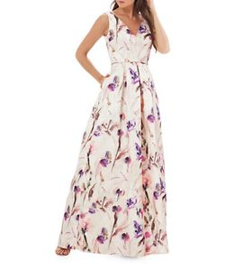 JS Collections | Printed Pleated Gown