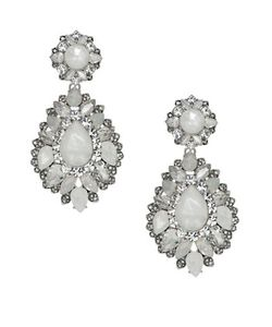 Marchesa | Rhodium Opalplated Drama Drop Earrings